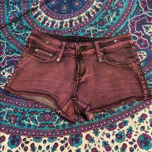 Punk Rock Purple Denim Shorts with Studs